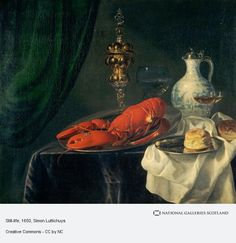 Simon Luttichuys: stilleven. 1650's. National Galleries Scotland. Larger than most of his works, this painting depicts luxurious objects such as a lobster, a delicate Venetian wine glass, a Chinese Ming porcelain jug with a Dutch tin lid, and a gold covered cup. This painting used to be attributed to Jan Davidsz de Heem, until the signature of Luttichuys was discovered on the rim of the larger plate.