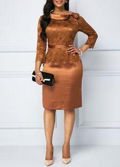Back Slit Bowknot Detail Sheath Dress Elegant Dresses, Cute Dresses, Casual Dresses, Short Dresses, African Fashion Dresses, African Dress, Lace Dress Styles, Dress Lace, Dress Outfits