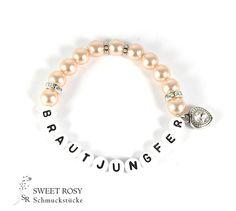 Accessoires - Armband Brautjungfer Glitzer Strass edel Buchstaben Perlen Geschenk Perlen Herz apricot - ein Designerstück von sweetrosy bei DaWanda
