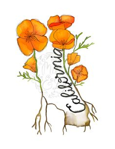 PRINTABLE California Wall Art California poppy and California state by MakeandDoHandmade
