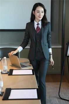 13cd29d6026 Formal Grey Blazer Women Business Suits with Pant + Jacket + Waistcoat