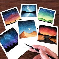 My complete watercolor polaroid series Skillshare class by aurorabyz Gabriela Figueroa Chelsey Davis Moore art watercolorseries - Art Mini Toile, Art Sur Toile, Art Inspo, Inspiration Art, Small Canvas Art, Mini Canvas Art, Canvas Canvas, Beach Canvas, Watercolor Sunset