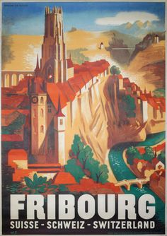 Original vintage poster: Fribourg - Switzerland for sale at posterteam.com by Jordan, Willi (1902-1971)