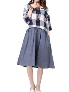Sale 15% (25.96$) - Women Plaid Patchwork Half Sleeve A-line Dress