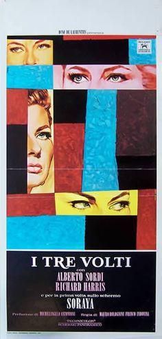 TRE VOLTI   Italian movie   Michelangelo Antonioni, Mauro Bolognini , 1965   ITALIAN POSTER , 1965   Art by : . Studio Favalli   Size : .... 33x71 cm / 13x28 in   Printed : Zincografica florentina.   NON LINENBACKED . / Good condition   PRICE .... 200 €