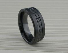 Black Zirconium Celtic Knot Ring   Geti Wedding Ring with Ce…