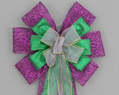 Purple Velvet Gold Green Mardi Gras Bow by PackagePerfectBows