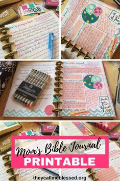 This printable Mom's Bible Journal will help you spend time with God daily. It comes with cover, daily journal, praise & prayer lists, sermon notes & more. Bible Journaling For Beginners, Bible Study Journal, Scripture Study, Bible Art, Bible Verses, Prayer Journals, Journal 3, Artist Journal, Art Journaling