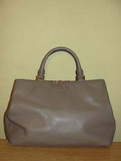 c9e17e1bdde7 MICHAEL KORS MK Purse Florence MD Satchel Brown Leather Handbag Gold  Fixtures