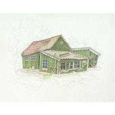 Groen huis met schuren. Ik ben begonnen met schilderen, net zoals ik begonnen ben met ademhalen.  Zonder dat ik me er van bewust was.  Het is gewoon een drang, van binnenuit.  Net als eten en drinken.