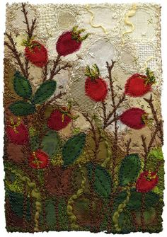 """Even though the leaves are barely changing colour, I've been noticing the rose hips hinting at autumn.   Working in a series has become an effective way for me to create work in various sizes and price ranges.  As I'm working on several pieces at once, I can make use of the colours and materials to their full potential.  It also reduces the thread changes in the sewing machine! SOLD 3"""" x 4 ¼"""" 9"""" x 11"""" framed www.chursinoff.com/kirsten/"""