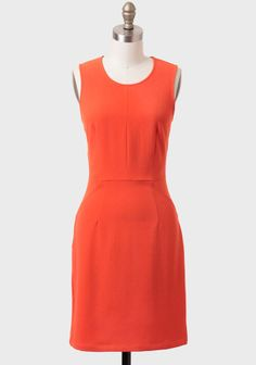 Tangerine Sunrise Sheath Dress at $49.99 Shopruche.com ....can be spiced up with a big green statement necklace!