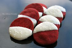 Red Velvet white chocolate dipped shortbread cookies
