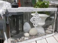 In my part of Europe, a new type of garden is coming up; a vintage garden! It is an idea that values re-use, recycling, and also quality. Glass Aquarium, Aquarium Fish Tank, Fish Tanks, Backyard Projects, Garden Projects, Diy Projects, Backyard Ideas, Diy Tank, Recycled Garden