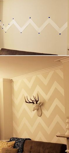 Create a chevron wall with contact paper. 28 Functional And Beautiful Ways To Decorate With Contact Paper Papel Contact, Contact Paper Wall, Diy Casa, Wall Design, Design Design, Design Ideas, Home Projects, Diy Home Decor, Easy Diy