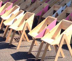 Mobilier Canadienne par le collectif nantais Fichtre pour l'aménagement d'un espace public dans le cadre de l'évènement urbain le Voyage à Nantes.