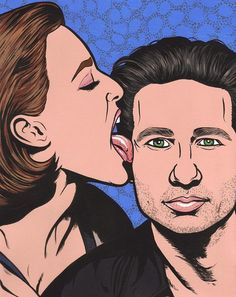 Scully and Mulder by turddemon on Etsy (Art & Collectibles, Prints, pop, outsider, folk, pop art, portrait, x files, david duchovny, gillian anderson, sci fi, aliens, ufo, love, 90s)
