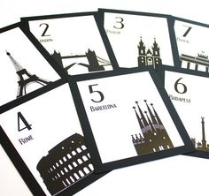 Travel Wedding Table Numbers. Great idea to represent places they've been, honeymoon destinations, etc.  Good idea for destination weddings, too.  Has a modern/contemporary vibe to it.