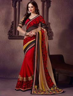 $37.86 Red Faux Georgette Party Wear Saree 56433