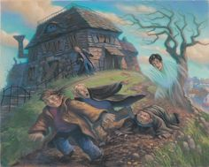 """""""The Cloak of Invisibility"""" and more rare illustrations from Mary Grandpre!! This one has Draco in it!!!!!"""
