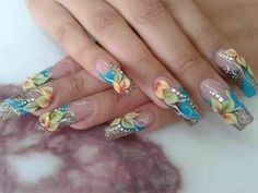 Gorgeous pale aqua blue and yellow flower clear nail art!