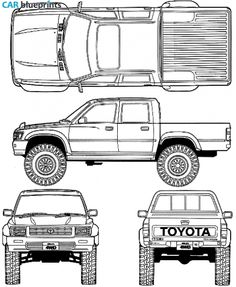 67 best blueprints cars images on pinterest in 2018 rolling car blueprints 1992 toyota hilux v double cab 4x4 truck blueprint malvernweather Gallery