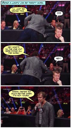 Lol Dean is such an inspiration Roman Reigns Dean Ambrose, Wwe Dean Ambrose, Wrestling Memes, Wrestling Stars, Jonathan Lee, Wwe Funny, The Shield Wwe, Funny Quotes, Funny Memes