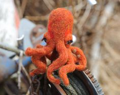 Gertrude the Needle-Felted Octopus Finger Puppet by PetitFelts