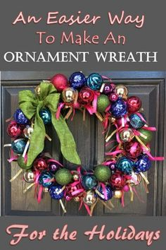 Ornament wreaths are popular for the Christmas season, but can be a hassle to make. This tutorial creates a festive wreath that is easy to construct, uses less ornaments, and will shine in your home.