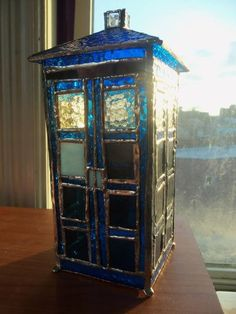 Is that a stained glass Tardis?  Why, yes it is!