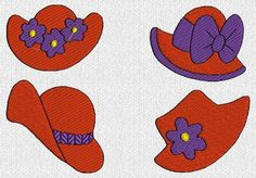 Embroidery Designs For Red Hat Crochet, Carving, Patterns. Embroidery Designs For Red Hat Hat Embroidery, Machine Embroidery Designs, Embroidery Patterns, Quilt Patterns, Red Hat Club, Mother's Day Theme, Red Hat Ladies, Spoon Collection, Red Hat Society