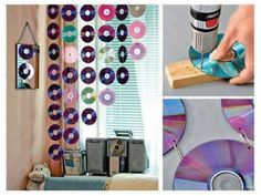 Diy easy room decor bedroom awesome room decor room decor decor curtain with video cassette diy . diy easy room decor genius home decor ideas Cd Crafts, Crafts For Teens, Easy Crafts, Diy And Crafts, Room Crafts, Handmade Crafts, Decor Crafts, Cd Diy, Diy Simple