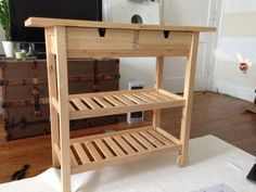 In today's post we are going to turn one of the most famous Ikea dressers into a nice kitchen utility cart, do you want to see how? The architect of this diy has chosen this famous some piece of furniture, which we can get Ikea Hack, Ikea, Ikea Kitchen Cart, Kitchen Island Cart Ikea, Ikea Bar Cart, Wooden Kitchen, Ikea Kitchen, Home Decor, Ikea Kitchen Island
