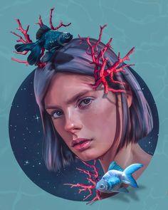 Digital portrait by Elena. Digital Art Girl, Digital Portrait, Portrait Art, Pencil Portrait, Portrait Tattoos, Cs6 Photoshop, Psy Art, Illustration Girl, Surreal Art