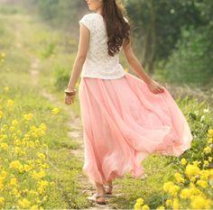 Princess pink Chiffon skirt Maxi Skirt Long by fashionclothingshow, $39.00 -- I need this skirt
