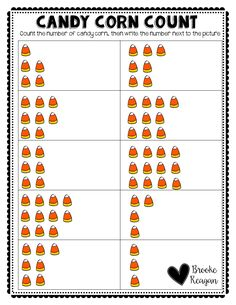 Candy Corn Count. Count the candy corns and write the number! Fun and engaging counting Halloween activity!