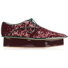 Delpozo sequin platform Derby shoes (20 465 UAH) ❤ liked on Polyvore featuring shoes, red, sequined shoes, red sequin shoes, sequin platform shoes, red shoes and platform shoes