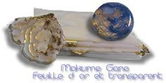 Mokume gane tutorial using translucent clay and gold leaf.  Not in English but it has pictures.