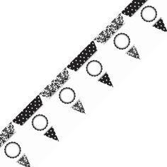 画像1: ペナントバナー ドット ブラック カスタマイズシール付き(カスタマイズ可能)