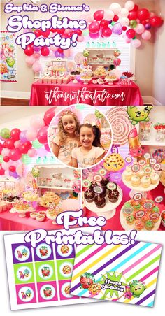 Sharing all of the fun from Sophia and Sienna's Shopkins Party! Lots of links, details and party inspiration + FREE PRINTABLES! Fun Balloon Arch + Dessert Table!