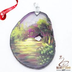 Hand Painted Scenery Agate Slice Gemstone Necklace Pendant Jewlery D1706 1887 #ZL #Pendant
