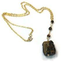 Brown Necklace Gold Jewelry Tigers Eye Gemstone by jewelrybycarmal, $26.00