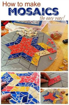 """Creating Art Mosaics with Broken Old Dishes Project Homesteading - The Homestead Survival .Com """"Please Share This Pin"""""""