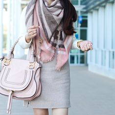 blush leather mules, Chloe marcie small leather satchel, J.Crew factory Double-notch wool mini skirt, Modcloth Third Time's a Warm Plaid Scarf