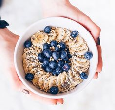 Blueberry banana oatmeal #healthy #breakfast