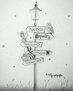 Pencil drawing, lamp post: Narnia, Harry Potter, Peter Pan, The Hunger Games and Alice in Wonderland Switch Hogwarts with Asgard and panem with Stark tower Baby Room Poster - change PANEM to 100 acer woods or Im changing Panem to District 12 cuz :p It doe Arte Do Harry Potter, Harry Potter Hogwarts, Harry Potter Sketch, Harry Potter Drawings Easy, Harry Potter Things, Hunger Games Drawings, Harry Potter Journal, Harry Potter Painting, Cute Harry Potter