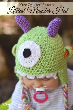 Littlest Monster Crochet Baby Hat - Make this adorable baby hat, perfect for the…