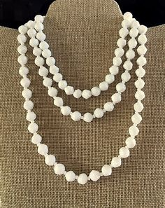 Very Long White Beaded Necklace - Single, Double or Triple - Vintage Milk Glass by MagicalUniverse on Etsy