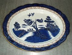 Booths China The Old Blue Willow Antique Ironstone Oval Platter Over Antique Tea Sets, Blue Willow China, Willow Pattern, Willow Tree, Diamond Pattern, White Porcelain, Old Things, Blue And White, Pottery