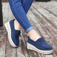 2018 new platform shoes for women slip on loafers suede cow leather breathable comfortable fashion womens walking casual shoes Suede Shoes, Shoe Boots, Leather Shoes, Women's Shoes, Mode Kimono, Ladies Slips, Pretty Shoes, Leather Slip Ons, Cow Leather